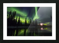 The aurora and rising moon reflect in the Clearwater River in Delta Junction; Alaska, United States of America Picture Frame print