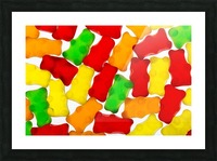 Colourful candied gummy bears backlit; Calgary, Alberta, Canada Picture Frame print