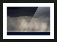 Rain falls over the ocean; Cannon Beach, Oregon, United States of America Picture Frame print