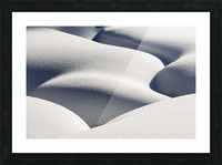 Artistic montage of snow contouring a creek bed with graphic designs of curving highlights and shadows; Lake Louise, Alberta, Canada Picture Frame print