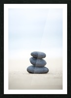 Stack Of Stones On Sand, Selective Focus. Picture Frame print
