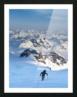 Climber Leaning Into High Winds On Northwest Ridge Of Mount Iliamna Above Tongue Glacier And Chigmit Mountains, Spring, Southcentral Alaska Picture Frame print