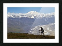 Silhouette Of A Man Hiking In The Tokosha Mountains Above The Tokositna Glacier With Mt. Hunter And The Alaska Range In The Background, Denali National Park & Preserve, Interior Alaska, Summer Picture Frame print