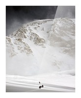 View Of Climbers Traversing The Kahiltna Glacier On The West Buttress Route With The South Face Of Denali In The Background, Denali National Park And Preserve, Interior Alaska, Summer Picture Frame print