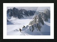 Mountaineer Climbing On Narrow Ridge In Kichatna Mtns Denali National Park Interior Alaska Winter Picture Frame print