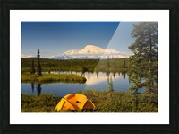 Tent Camping In Wrangell Saint Elias National Park With Mount Sanford In The Background, Southcentral Alaska, Summer Picture Frame print