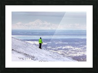 Woman snowshoer taking in the view of Mt. McKinley (Denali) from Blueberry Hill at the Glen Alps area of Chugach State Park, Anchorage, Southcentral Alaska, Winter, HDR Picture Frame print