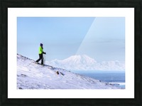 Woman snowshoeing on Blueberry Hill at the Glen Alps area of Chugach State Park with Mt. Foraker in the background, Anchorage, Southcentral Alaska, Winter, HDR Picture Frame print