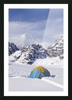Mountain tent on ridge in winter, Mt. McKinley in background, part of Mt. Dan Beard immediately behind tent, Denali National Park and Preserve; Alaska, United States of America Picture Frame print