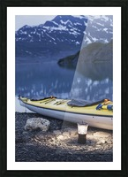 Kayak and lantern on the beach with mountains in the back ground at dusk, Shoup Bay State Marine Park, Prince William Sound, Valdez, Southcentral Alaska Picture Frame print