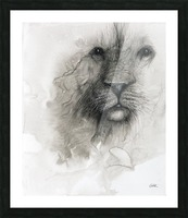 Illustration of a lion's face on a white background Picture Frame print