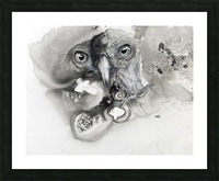 Illustration of a bird's face surrounded by mottled textures and abstract Picture Frame print