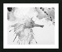 Illustration of fish with long nose surrounded by splashes and mottled abstract Picture Frame print