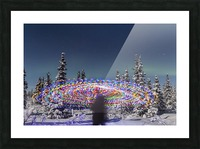 The Aurora Borealis dances over the top of a vibrant spiral light painting, the blurry figure of a man in the middle of the light painting, moonlight casting shadows on snow covered spruce trees on a clear winter night, interior Alaska; Gakona, Alaska, Un Picture Frame print