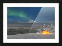 Green Aurora Borealis shines above moonlight casting light on Mount Drum and the Copper River Valley, a glowing tent on a foggy winter night, Copper River Valley, South-central Alaska; Alaska, United States of America Picture Frame print