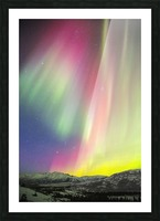 A colourful aurora display over Granite Mountain, south of Delta Junction; Alaska, United States of America Picture Frame print