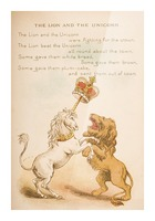 The Lion and the Unicorn from Old Mother Goose's Rhymes and Tales  Illustration by Constance Haslewood  Published by Frederick Warne & Co London and New York circa 1890s  Chromolithography by Emrik & Binger of Holland Picture Frame print