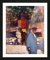 The Kiosk on the Boulevard, Paris. Colour illustration from the book France by Gordon Home published 1918 Picture Frame print