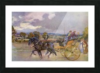 Regency Bucks in their Curricle on the road to Brighton, England.  From The Illustrated London News, Christmas Number, 1933. Picture Frame print
