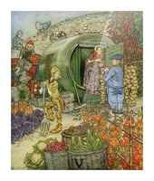Mr and Mrs Vinegar At Home.  From the book English Fairy Tales retold by F.A. Steel with illustrations by Arthur Rackham, published 1927. Picture Frame print