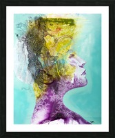 Illustration of a woman's head with colourful abstract patterns emerging from the back of the head Picture Frame print