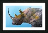 Illustration of a white rhinoceros against a blue background Impression et Cadre photo