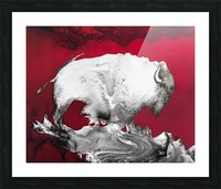 Illustration of a bison against a red background Picture Frame print