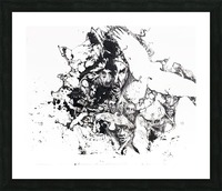 Black and white illustration of birds and human faces Impression et Cadre photo