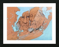 Illustration of two male faces and an abstract blue and brown background Picture Frame print