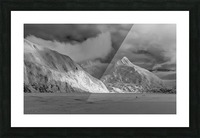 Hikers make the trek to Portage Glacier on Portage Lake in winter, South-central Alaska; Alaska, United States of America Picture Frame print