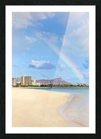 View of Waikiki beach and Diamond Head crater at Ala Moana Beach Park with a rainbow overhead; Honolulu, Oahu, Hawaii, United States of America Picture Frame print