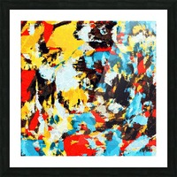 psychedelic geometric splash painting abstract pattern in yellow red blue brown Picture Frame print