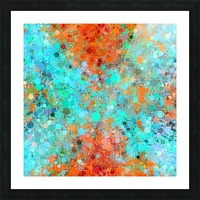 psychedelic geometric circle pattern and square pattern abstract in orange and blue Picture Frame print
