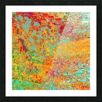 psychedelic fractal geometric triangle abstract pattern in orange yellow green blue red Picture Frame print