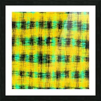 plaid pattern abstract texture in yellow green black Picture Frame print