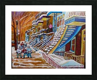 MONTREAL WINTER SCENE HOCKEY GAME NEAR THE BLUE STAIRCASE Picture Frame print