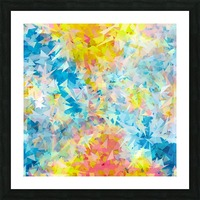 psychedelic geometric triangle abstract pattern in blue pink yellow Picture Frame print