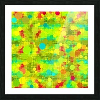 psychedelic geometric circle and square pattern abstract in yellow green blue red Picture Frame print