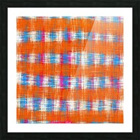plaid pattern abstract texture in orange blue pink Picture Frame print