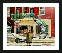 DEPANNEUR WITH ELDERLY LADY MONTREAL WINTER SCENE Picture Frame print