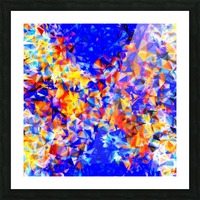psychedelic geometric triangle abstract pattern in blue orange yellow Picture Frame print