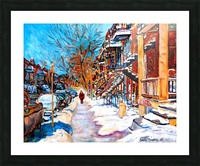 MONTREAL STREET IN WINTER Picture Frame print