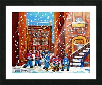 HOCKEY IN THE LANEWAY WITH SNOW Picture Frame print