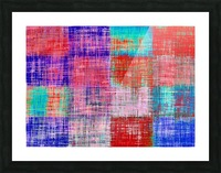 square plaid pattern texture abstract in red blue pink purple Picture Frame print