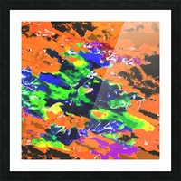 psychedelic splash painting abstract texture in brown green blue yellow pink Picture Frame print
