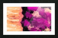 psychedelic splash painting abstract texture in pink purple black Picture Frame print