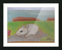 White mouse Picture Frame print