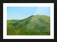 green field and green mountain with blue sky Picture Frame print