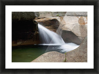New England, New Hampshire, White Mountains, A forest riverbed and waterfall. Picture Frame print