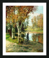 Lady in black dress standing near small lake Picture Frame print